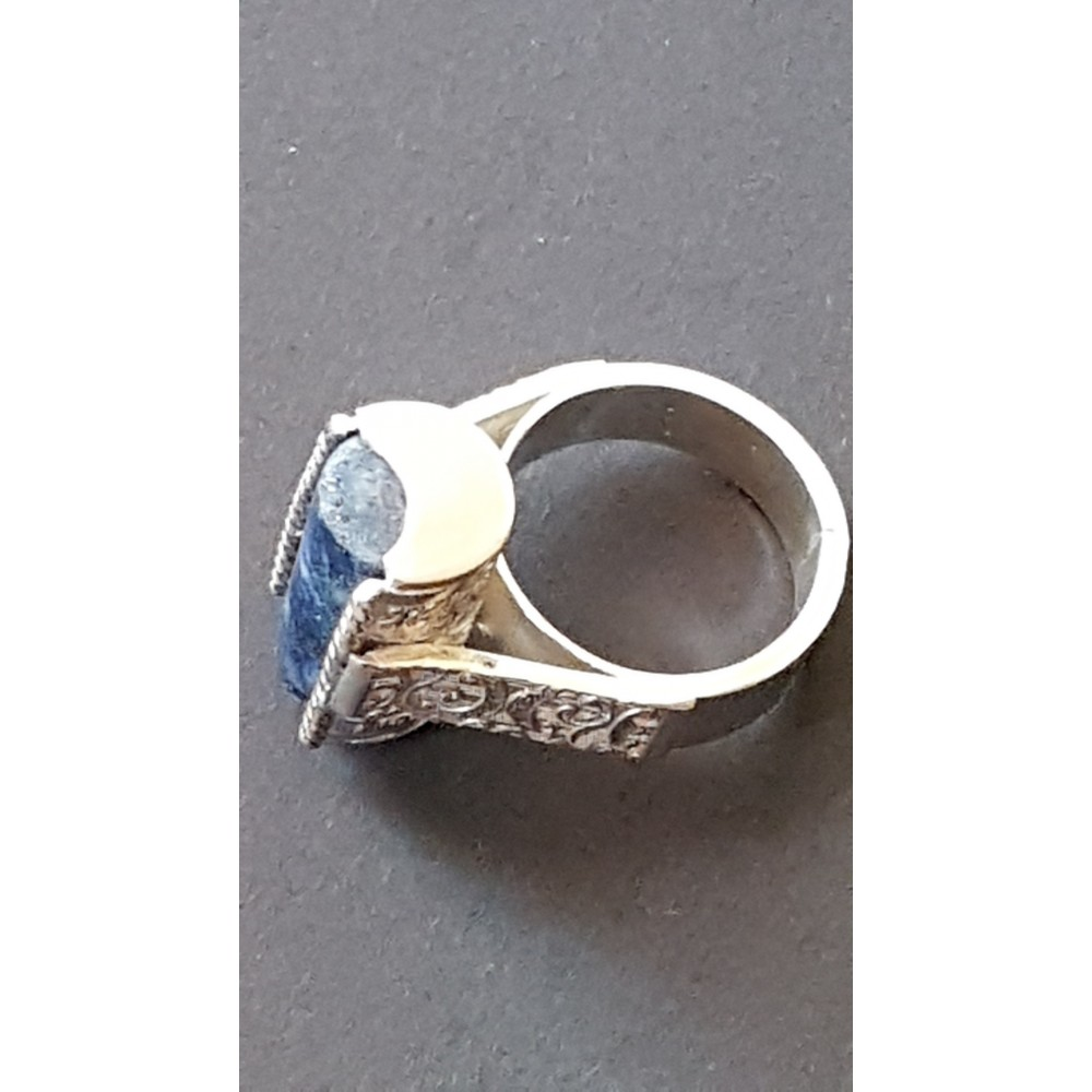 Sterling silver ring with natural lapislazuli Blue Omen