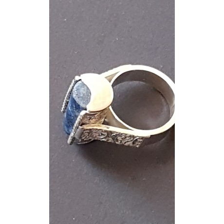 Sterling silver ring with natural lapislazuli Blue Omen, Bijuterii de argint lucrate manual, handmade