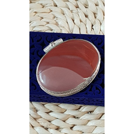 Large Sterling Silver pendant with natural jasper stone Insane Redd's, Bijuterii de argint lucrate manual, handmade