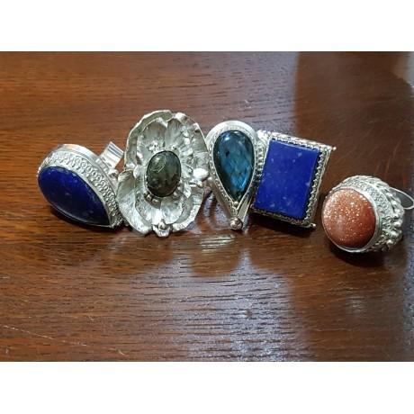 Large Sterling Silver ring with labradorite stone Mesmerize, Bijuterii de argint lucrate manual, handmade