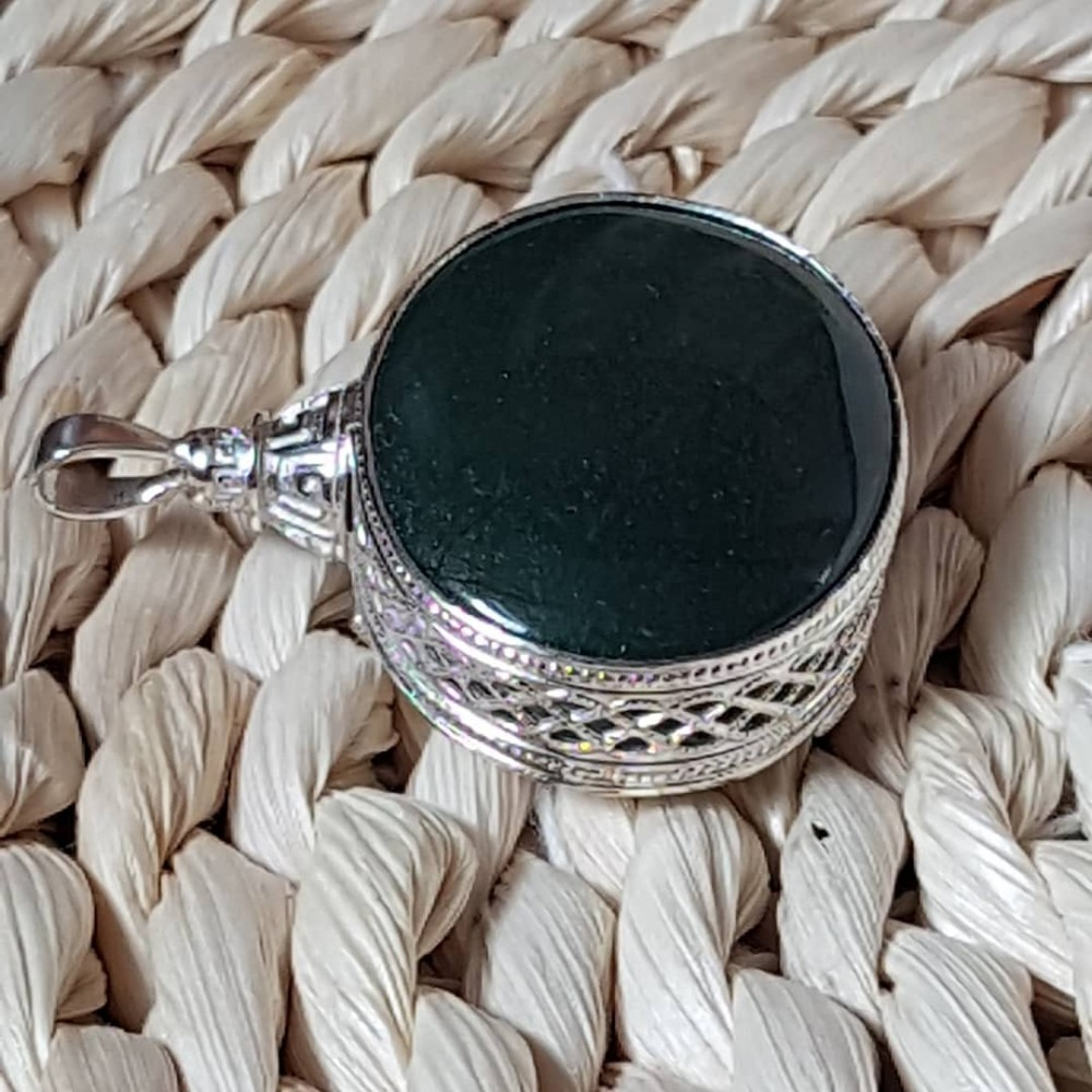 Large Sterling Silver ring with natural Jade stone Jade  Made