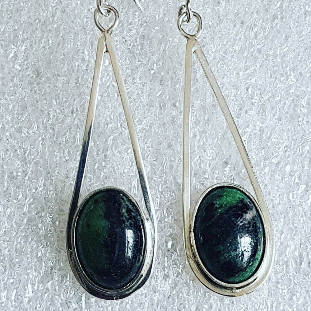 Sterling silver earrings with natural  zoisit ruby stones Greeny Stamps