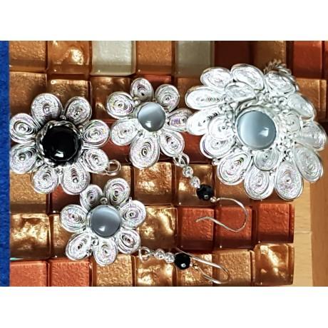 Pandant Prime of Flower,  filigran argint pur si Ag925 cu onix negru natural, Bijuterii de argint lucrate manual, handmade