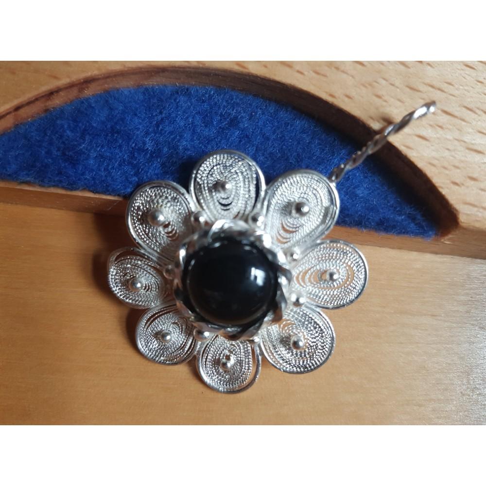 Pandant Prime of Flower,  filigran argint pur si Ag925 cu onix negru natural