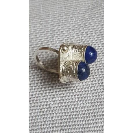 Sterling silver ring with natural lapislazuli Blue Nuggets, Bijuterii de argint lucrate manual, handmade