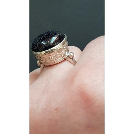 Sterling silver ring with natural goldstone Uptown Grace, Bijuterii de argint lucrate manual, handmade