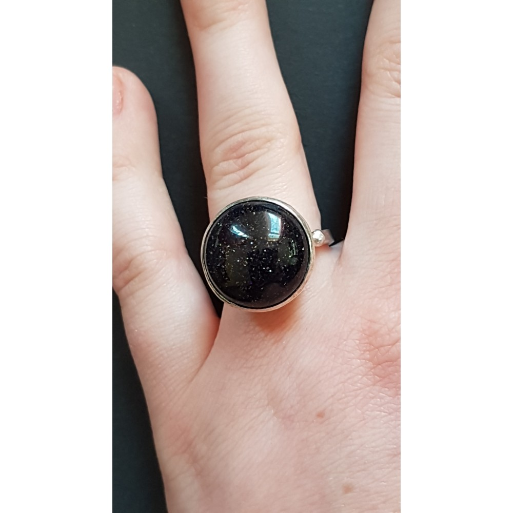 Sterling silver ring with natural goldstone Uptown Grace