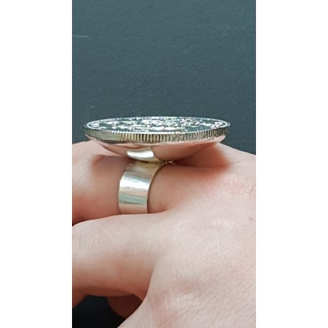 Large Sterling Silver ring Coat of Arms, Bijuterii de argint lucrate manual, handmade