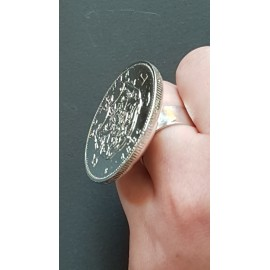 Large Sterling Silver ring Coat of Arms