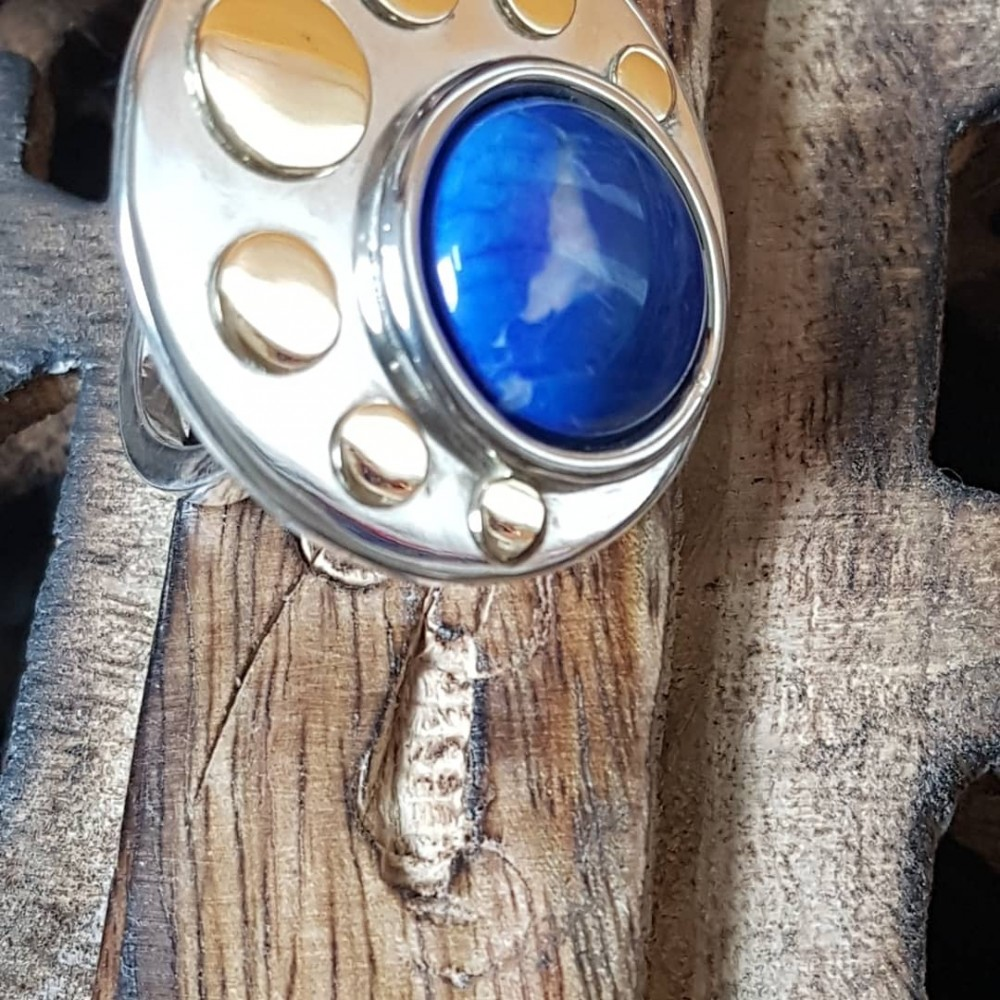 Massive Sterling silver ring with natural lapislazuli Sky fringes