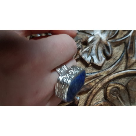 Massive Sterling silver ring with natural lapislazuli Sky fringes , Bijuterii de argint lucrate manual, handmade