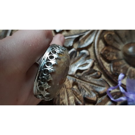 Large Sterling Silver ring with natural  marble agate stone Crowne to U, Bijuterii de argint lucrate manual, handmade