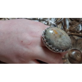 Large Sterling Silver ring with natural  marble agate stone Crowne to U