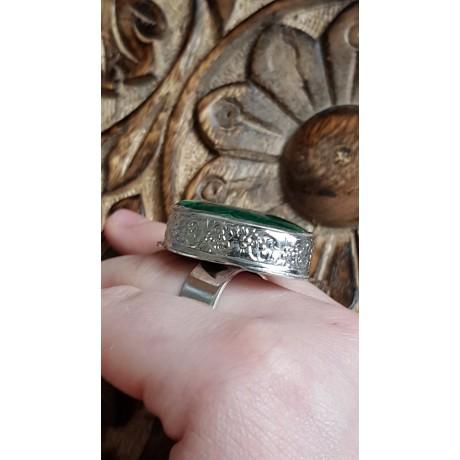 Sterling silver ring with natural malachite stone Green Prime, Bijuterii de argint lucrate manual, handmade
