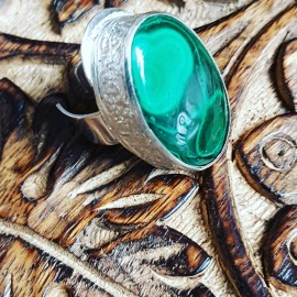 Sterling silver ring with natural malachite stone Green Prime