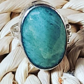 Sterling silver ring with natural aquamarine stone Dash of Green