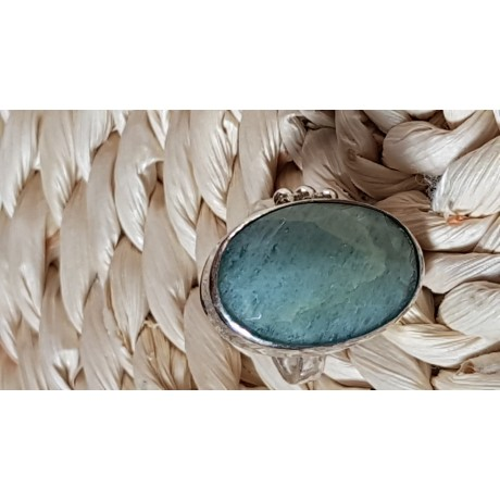 Sterling silver ring with natural aquamarine stone Dash of Green, Bijuterii de argint lucrate manual, handmade