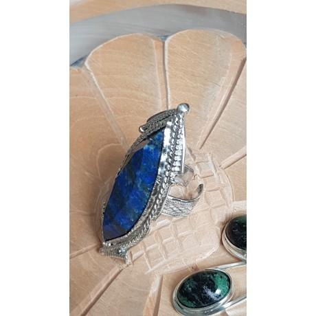 Large Sterling Silver ring with natural lapislazuli Set Sail to Dreams, Bijuterii de argint lucrate manual, handmade