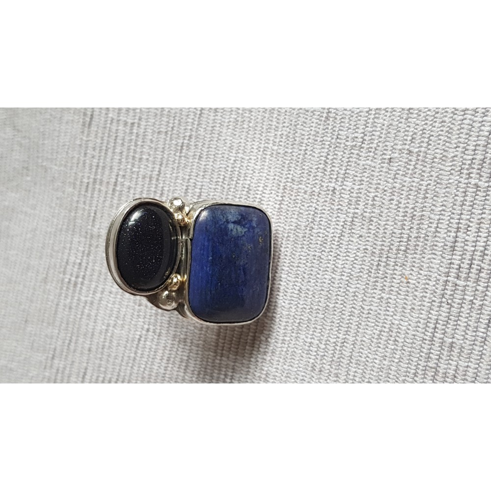 Large Sterling Silver ring with natural lapislazuli and goldstone Juicy Flirt