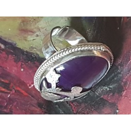 Large Sterling Silver ring with natural agate stone
