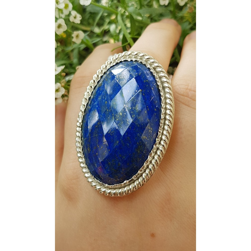 Large Sterling Silver ring with natural lapislazuli Blue Masters