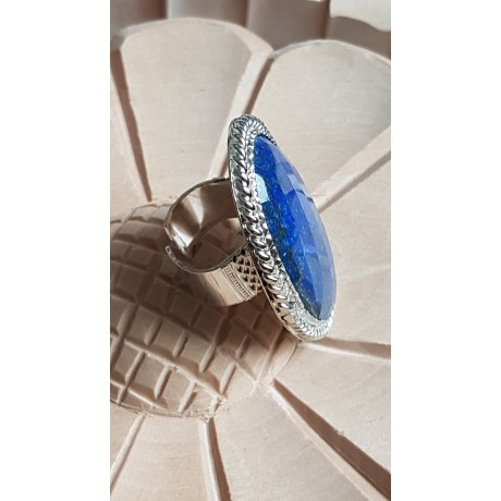 Large Sterling Silver ring with natural lapislazuli Blue Masters, Bijuterii de argint lucrate manual, handmade