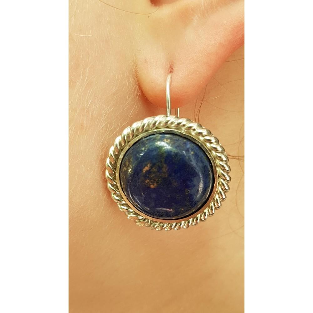 Sterling silver earrings with natural lapislazuli Blue Orbit