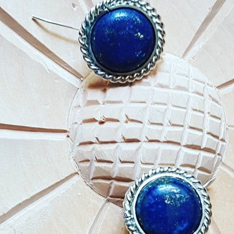 Sterling silver earrings with natural lapislazuli Blue Orbit, Bijuterii de argint lucrate manual, handmade