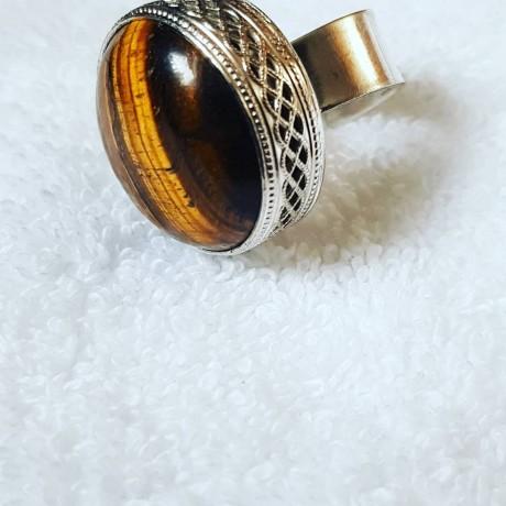 Large Sterling Silver ring with natural tiger's eye Hazel Footprint, Bijuterii de argint lucrate manual, handmade