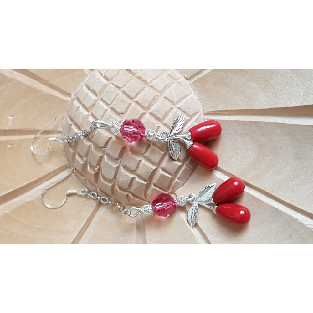 Sterling silver earrings with Swarovski crystals and pearls Red Berries