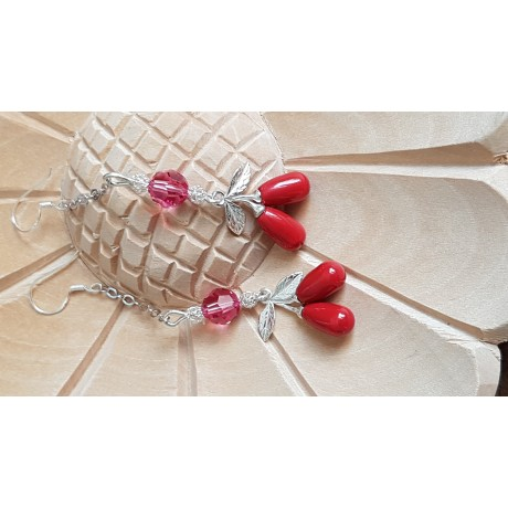 Sterling silver earrings with Swarovski crystals and pearls Red Berries, Bijuterii de argint lucrate manual, handmade