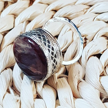 Sterling silver ring with natural jasper stone Reddish Stamp , Bijuterii de argint lucrate manual, handmade