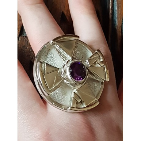 Large Sterling Silver ring with amethyst stone Wonder Gush, Bijuterii de argint lucrate manual, handmade