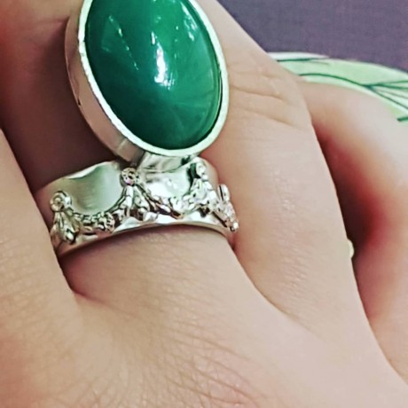 Sterling silver ring with natural aventurine stone Green Coverage, Bijuterii de argint lucrate manual, handmade