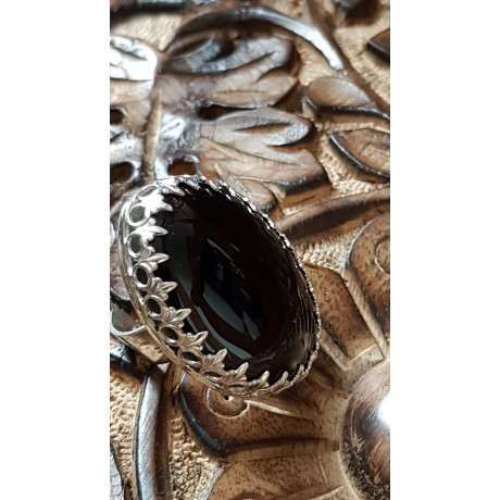 Large Sterling Silver ring with natural onyx stone Dark Symphony, Bijuterii de argint lucrate manual, handmade