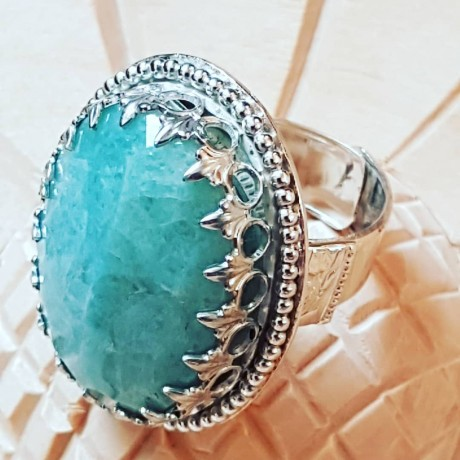Large Sterling Silver ring with natural aquamarine stone Fine Green Swagger, Bijuterii de argint lucrate manual, handmade