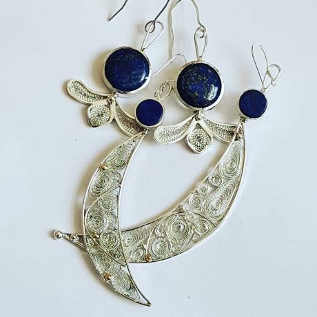 Sterling silver earrings with pure silver filigree and natural lapislazuli Manic Halves, Bijuterii de argint lucrate manual, handmade