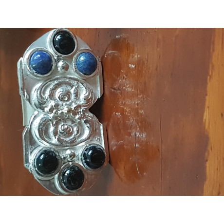 Large Sterling Silver ring with natural onyx and lapislazuli  Vintage fabric, Bijuterii de argint lucrate manual, handmade