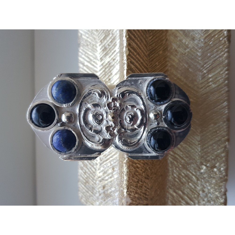Large Sterling Silver ring with natural onyx and lapislazuli  Vintage fabric