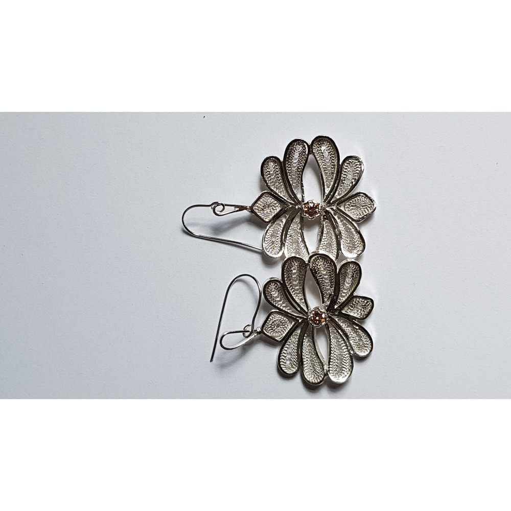 Sterling silver and pure silver filigree earrings with natural citrines Evanescence