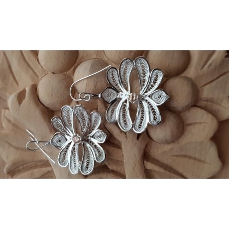 Sterling silver and pure silver filigree earrings with natural citrines Evanescence, Bijuterii de argint lucrate manual, handmade