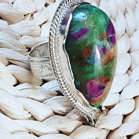 Large Sterling Silver ring with natural jasper stone Spice to Love, Bijuterii de argint lucrate manual, handmade