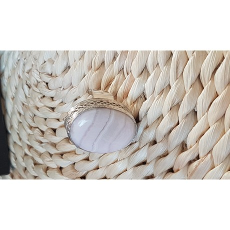 Large Sterling Silver ring with natural Manganocalcite Picky Fusion, Bijuterii de argint lucrate manual, handmade