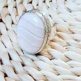 Large Sterling Silver ring with natural Manganocalcite Picky Fusion