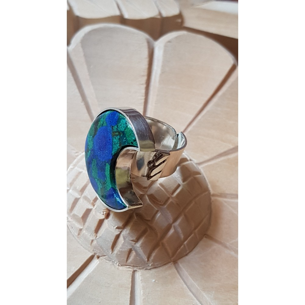 Sterling silver ring with natural azurite and malachite stone Blessed Beauty