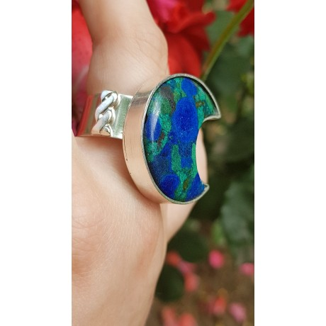 Sterling silver ring with natural azurite and malachite stone Blessed Beauty, Bijuterii de argint lucrate manual, handmade