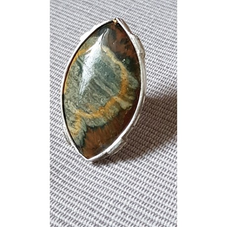 Sterling silver ring with natural ocean jasper stone Raw-ocean Emotions, Bijuterii de argint lucrate manual, handmade