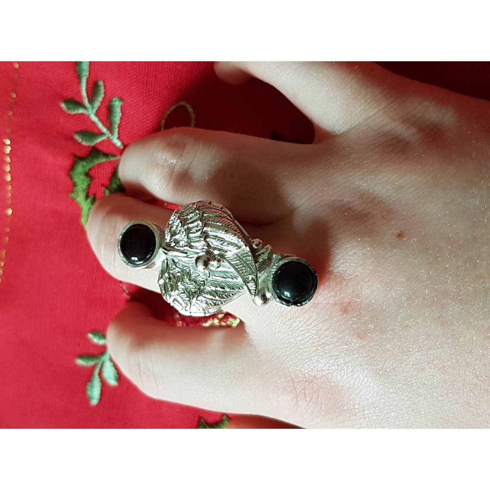 Sterling silver ring with natural onix Angel 's Touch