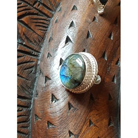 Large Sterling Silver ring with natural labradorite stone Smooth Crib, Bijuterii de argint lucrate manual, handmade