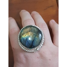 Large Sterling Silver ring with natural labradorite stone Smooth Crib